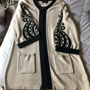 Cream and black embroidered long sweater